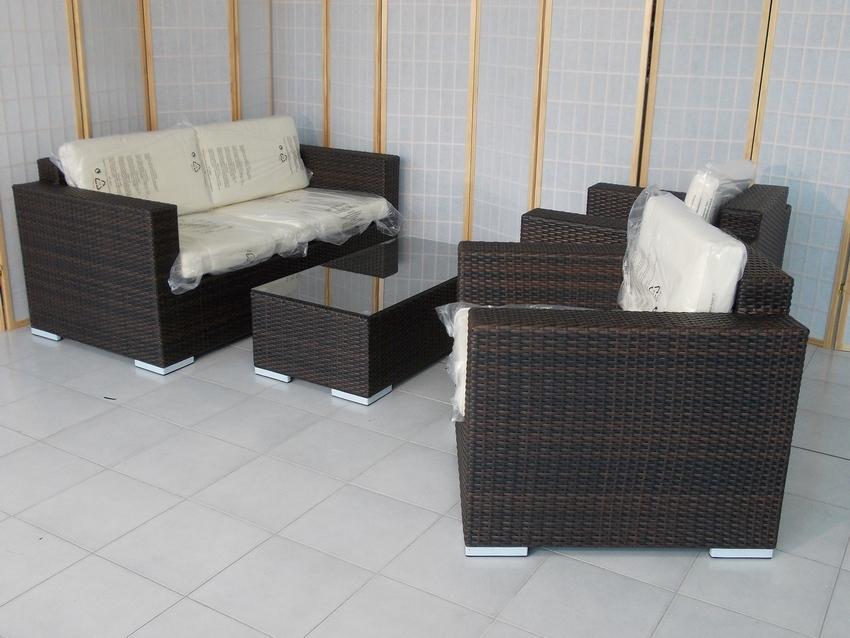 B9509t salotto marrone tiger rattan sintetico salotto in for Arredo giardino rattan offerte