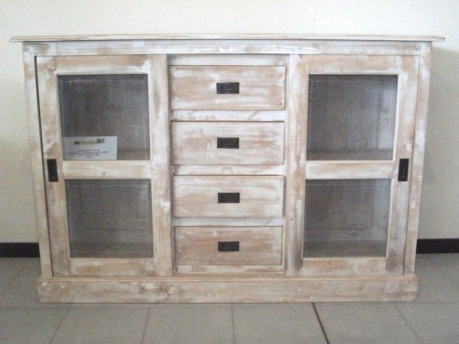 Buffet mobile shabby decapato bianco legno teak massello for Mobili legno bianco anticato