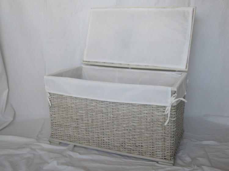 Bauli In Rattan Sintetico.26 0031 2 Cesto Portabiancheria In Rattan Decapato E Bianco Cesto