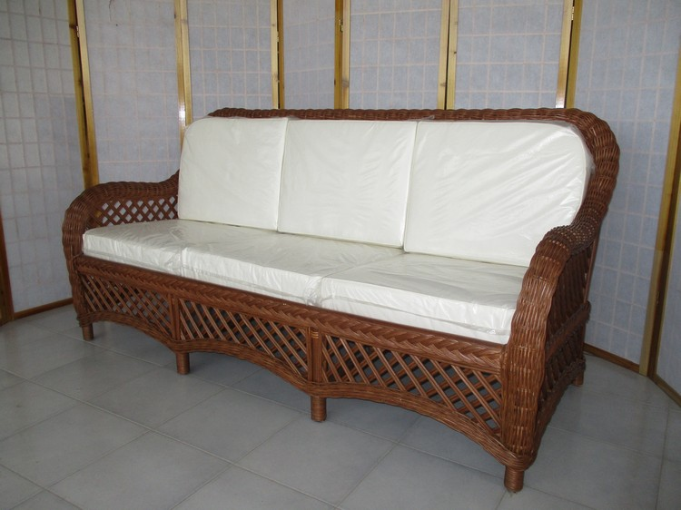 Divani rattan midollino naturale bambu banano interno e esterno dal pozzo - Divani in rattan per interno ...