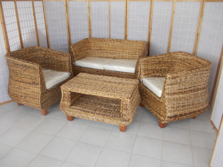 Arredamento mobili salotti in rattan midollino bambu per esterno interno - Divano in banano ...